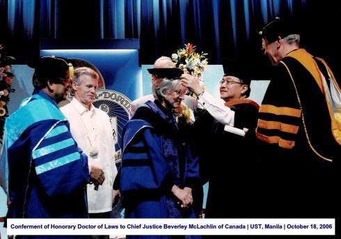 Conferment of Honorary Doctor of Laws to Chief Justice Beverley McLachlin of Canada UST, Manila October 18, 2006