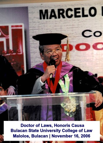 Doctor of Laws, Honoris Causa Bulacan State University College of Law Malolos, Bulacan Novembe
