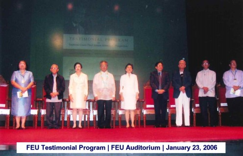 FEU Testimonial Program FEU Auditorium January 23, 2006