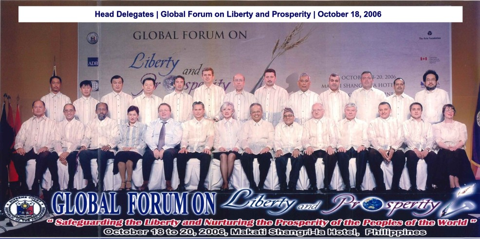 Head Delegates Global Forum on Liberty and Prosperity October 18, 2006