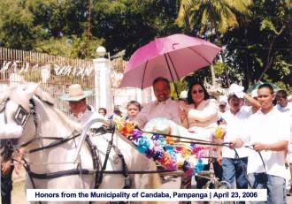 Honors from the Municipality of Candaba, Pampanga April 23, 2006 4