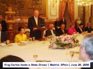 King Carlos hosts a state dinner Madrid, Spain June 28, 2006