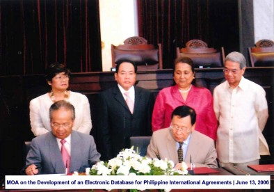 MOA on the Development of an Electronic Database for Philippine International Agreements June 13, 2006