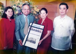 Turn-over by PDI Chair Marixi R. Prieto, PDI President Sandy Romualdez and PDI Publisher Isagani Yambot of the framed copy of PDI issue showing the Panganiban Court in its front page