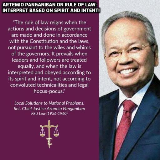 Artemio Panganiban on rule of law: Interpret based on spirit and intent! | https://abogado.com.ph/artemio-panganiban-on-rule-of-law-interpret-based-on-spirit-and-intent